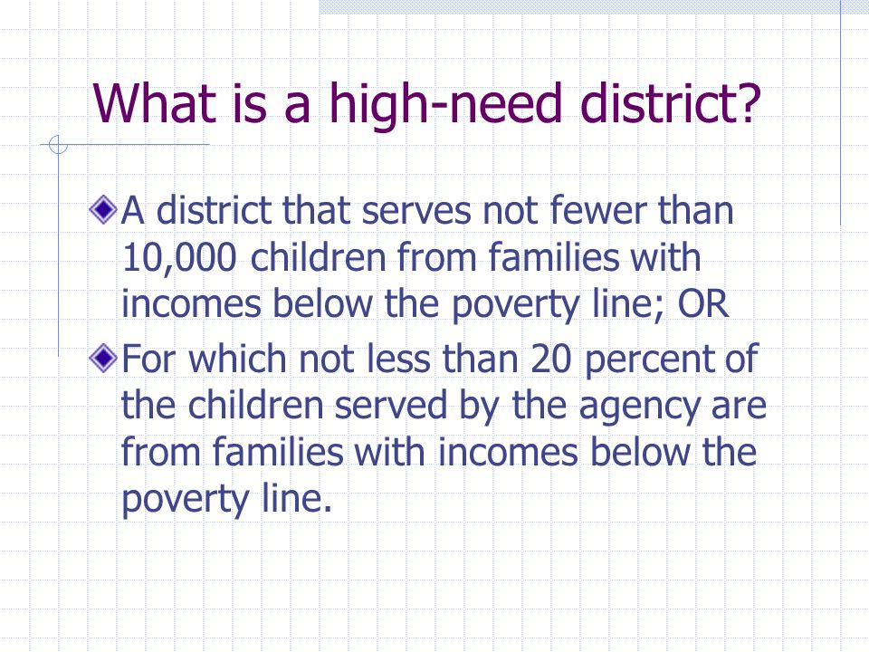 What is a high-need district