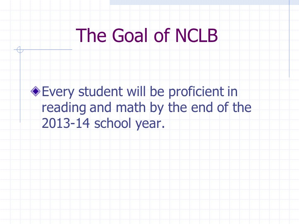 The Goal of NCLB Every student will be proficient in reading and math by the end of the 2013-14 school year.