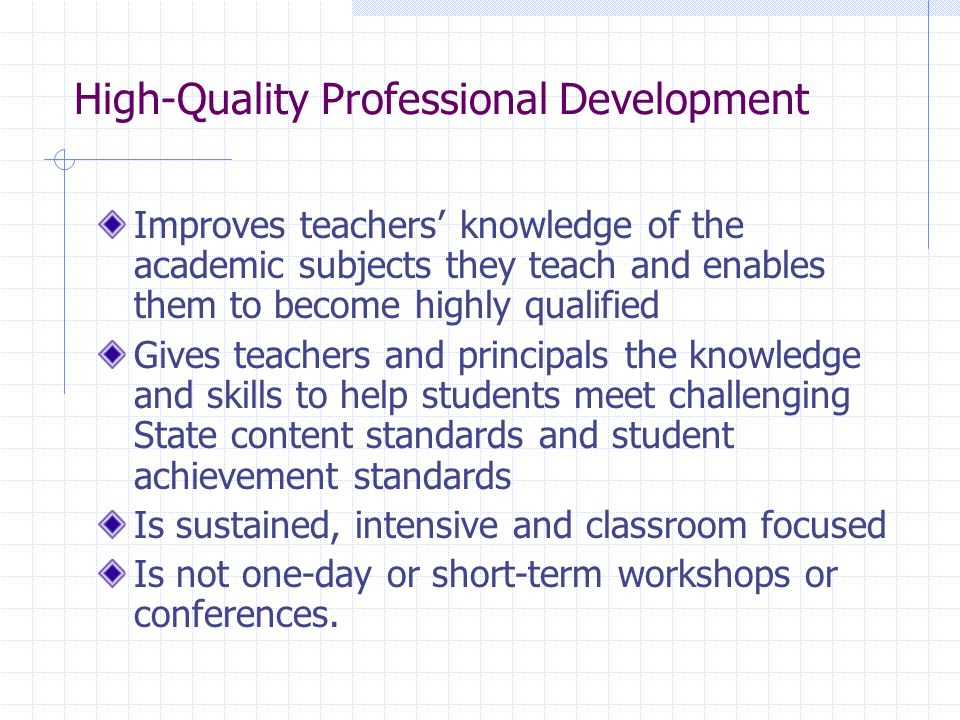 High-Quality Professional Development