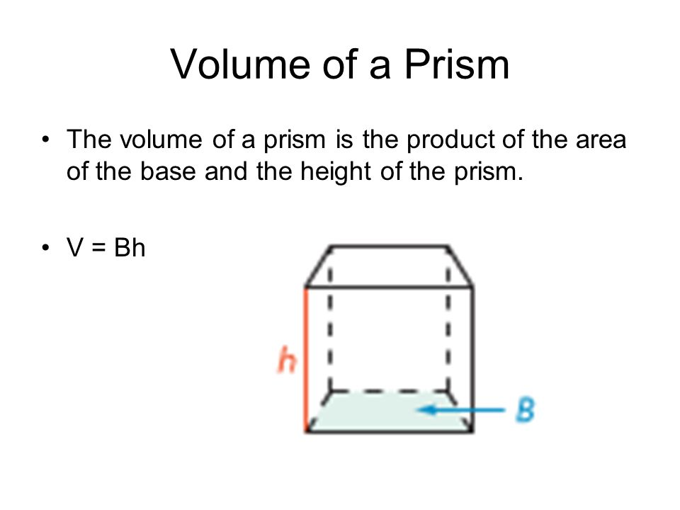Volume of a Prism The volume of a prism is the product of the area of the base and the height of the prism.