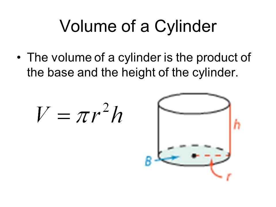 Volume of a Cylinder The volume of a cylinder is the product of the base and the height of the cylinder.