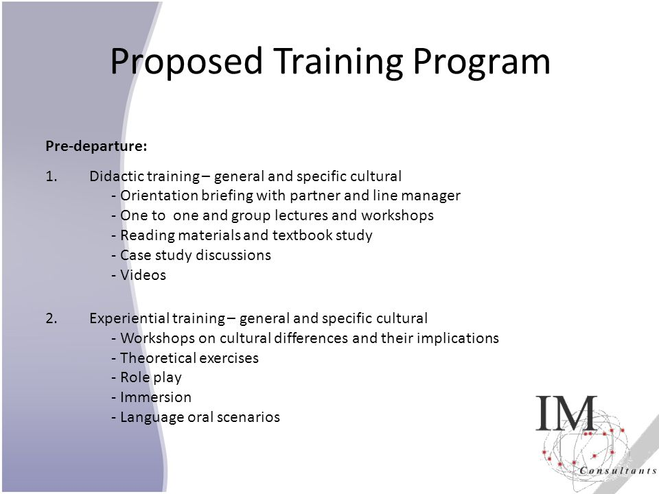 Proposed Training Program
