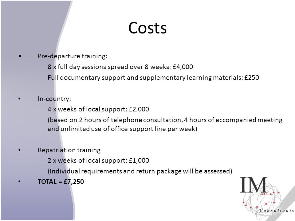 Costs Pre-departure training: