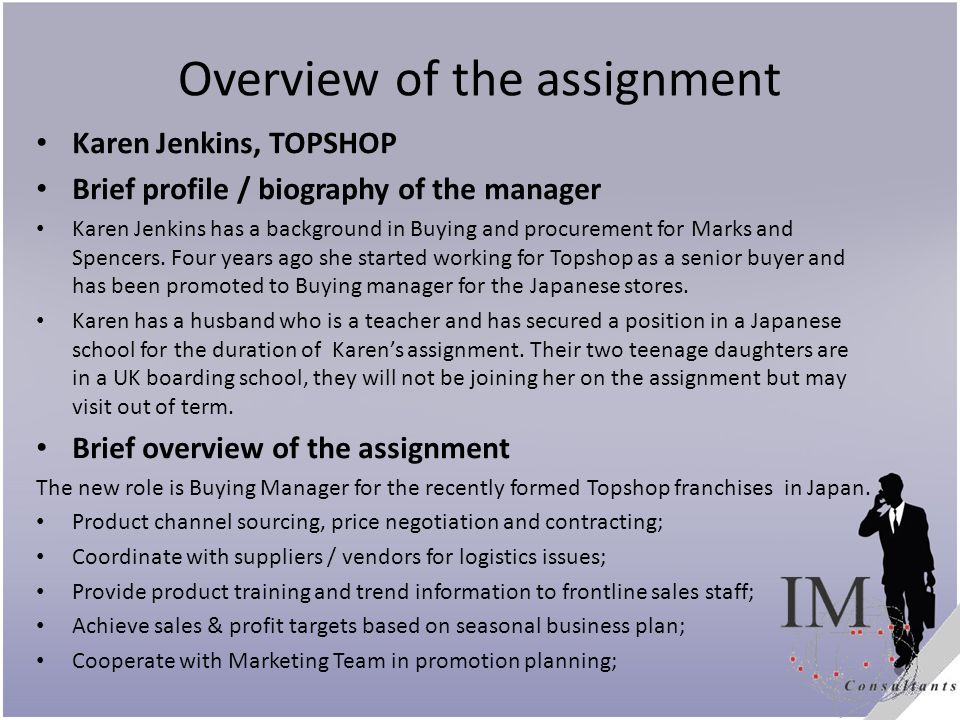 Overview of the assignment