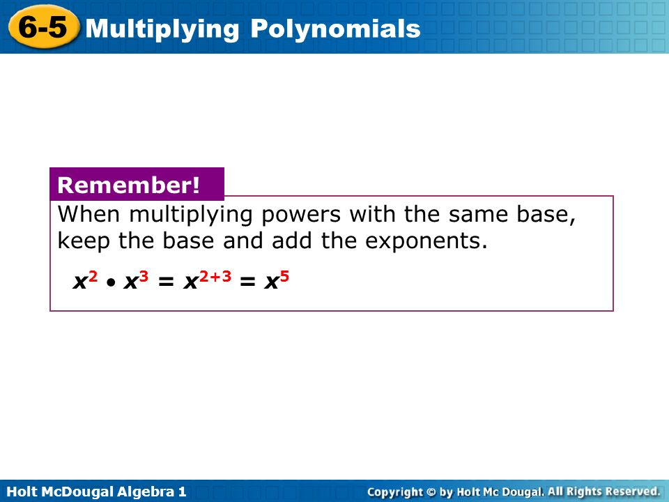 Multiplying Polynomials ppt video online download – Multiplying Powers with the Same Base Worksheet