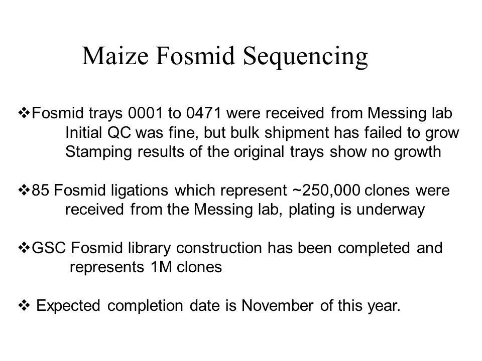 Maize Fosmid Sequencing