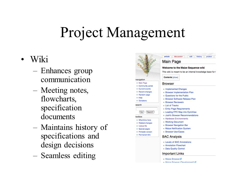 Project Management Wiki Enhances group communication