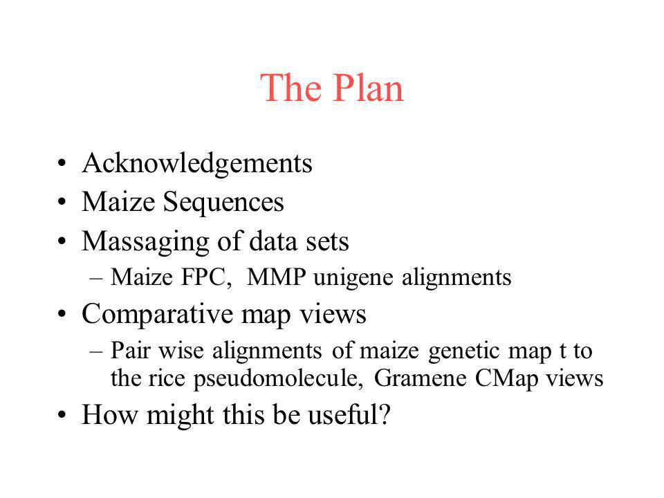 The Plan Acknowledgements Maize Sequences Massaging of data sets
