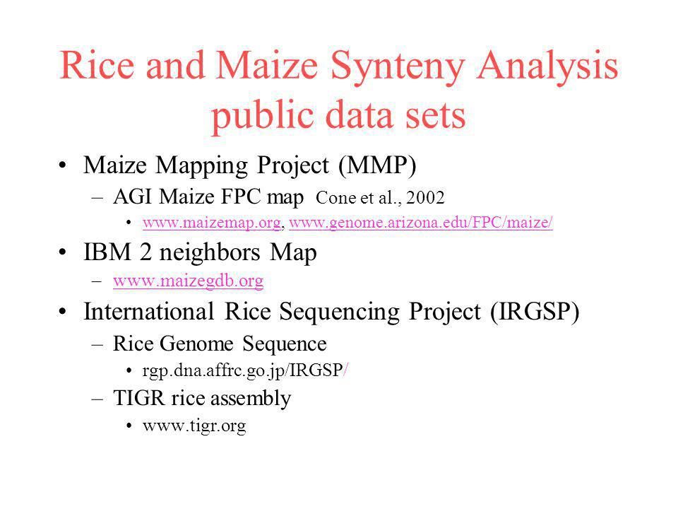 Rice and Maize Synteny Analysis public data sets