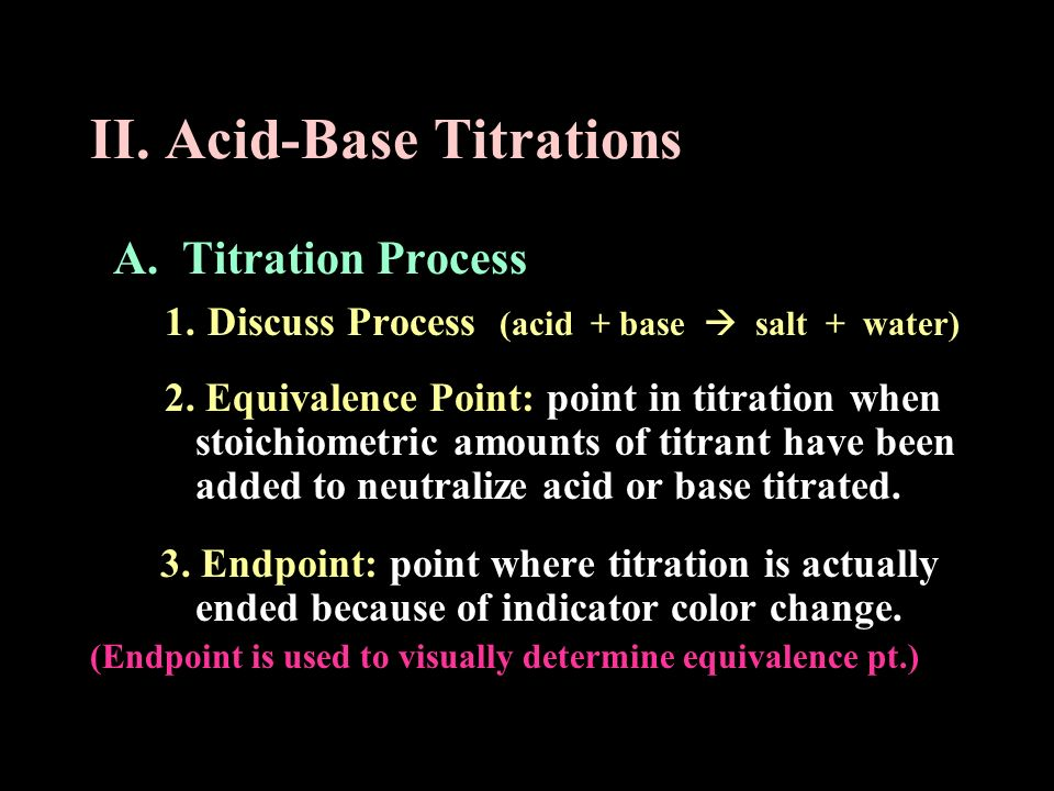 II. Acid-Base Titrations