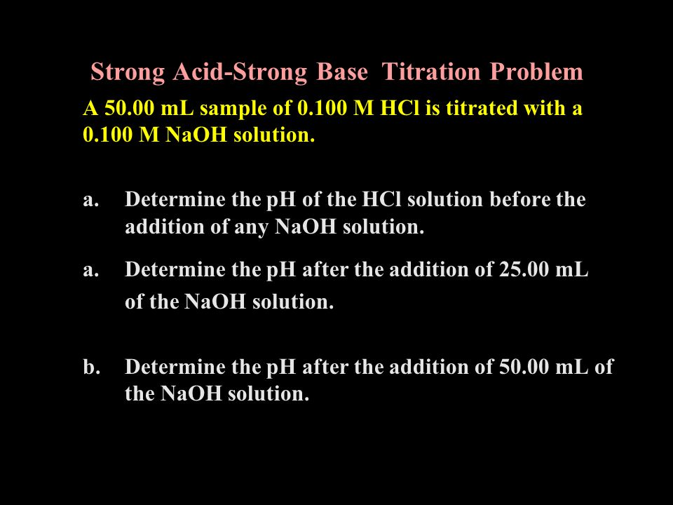 Strong Acid-Strong Base Titration Problem