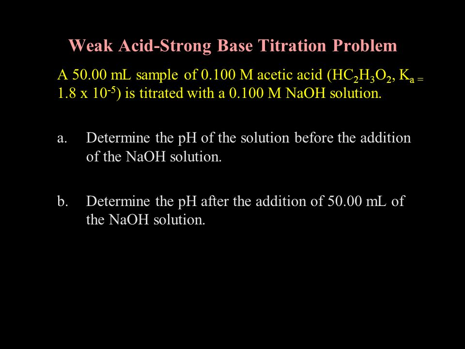 Weak Acid-Strong Base Titration Problem