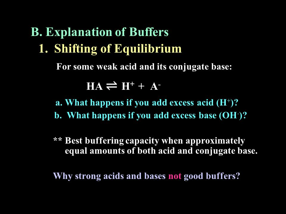 B. Explanation of Buffers 1. Shifting of Equilibrium