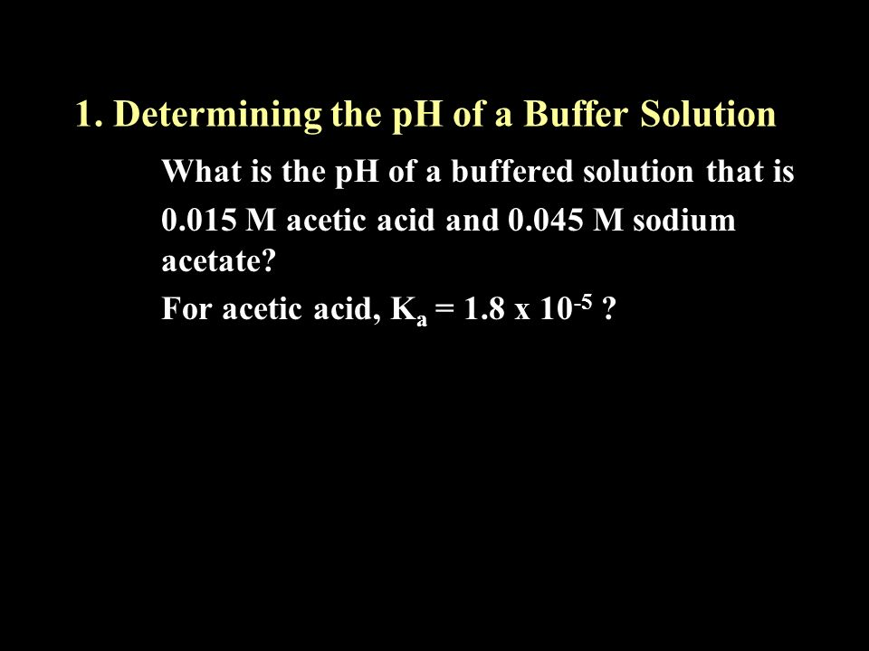1. Determining the pH of a Buffer Solution