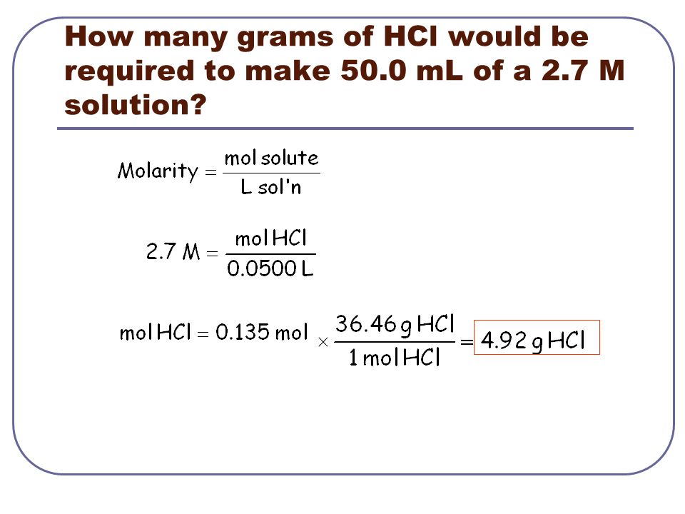 How many grams of HCl would be required to make mL of a 2