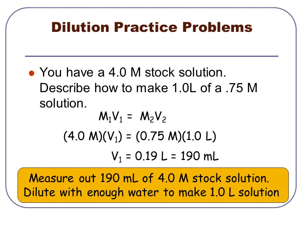 Dilution Practice Problems