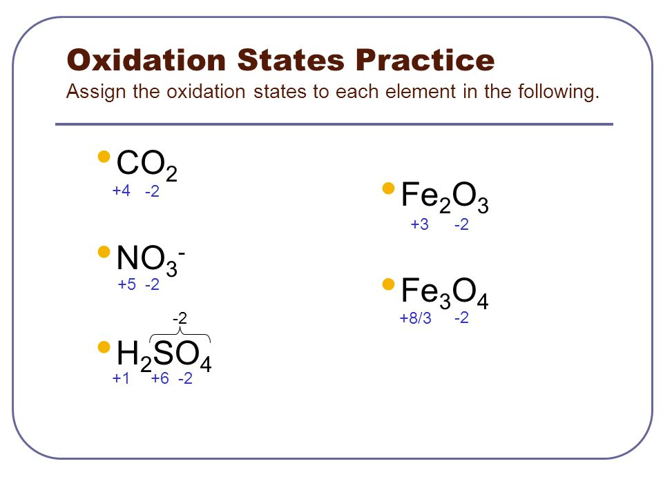 assign oxidation states Oxidation state of organic molecules the most reduced form of carbon is ch 4, the most oxidized is co 2thus the oxidation state of a one-carbon fragment is unambiguous and defined by the number of c-h bonds that have been replaced by c-x bonds, where x.