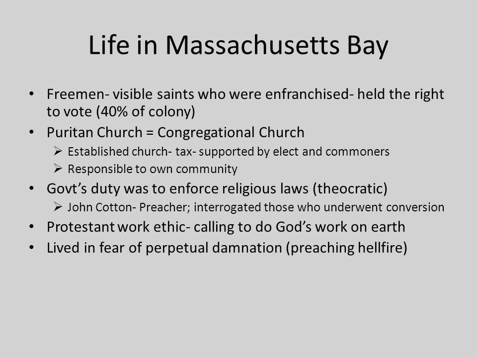 Life in Massachusetts Bay