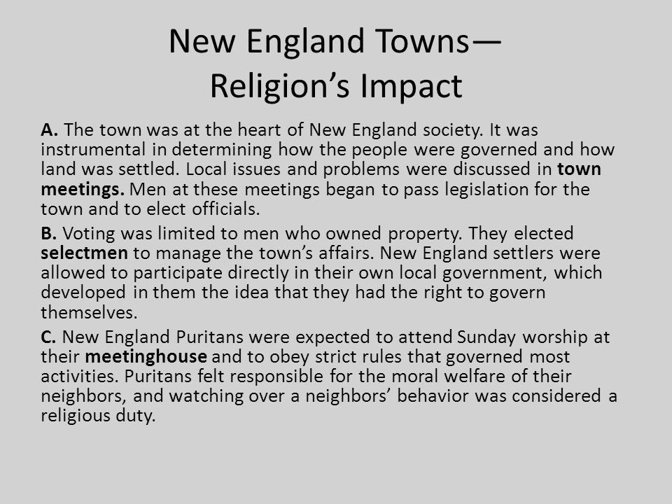 New England Towns— Religion's Impact