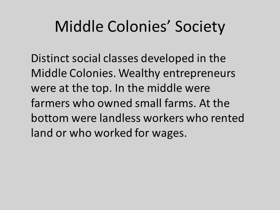 Middle Colonies' Society