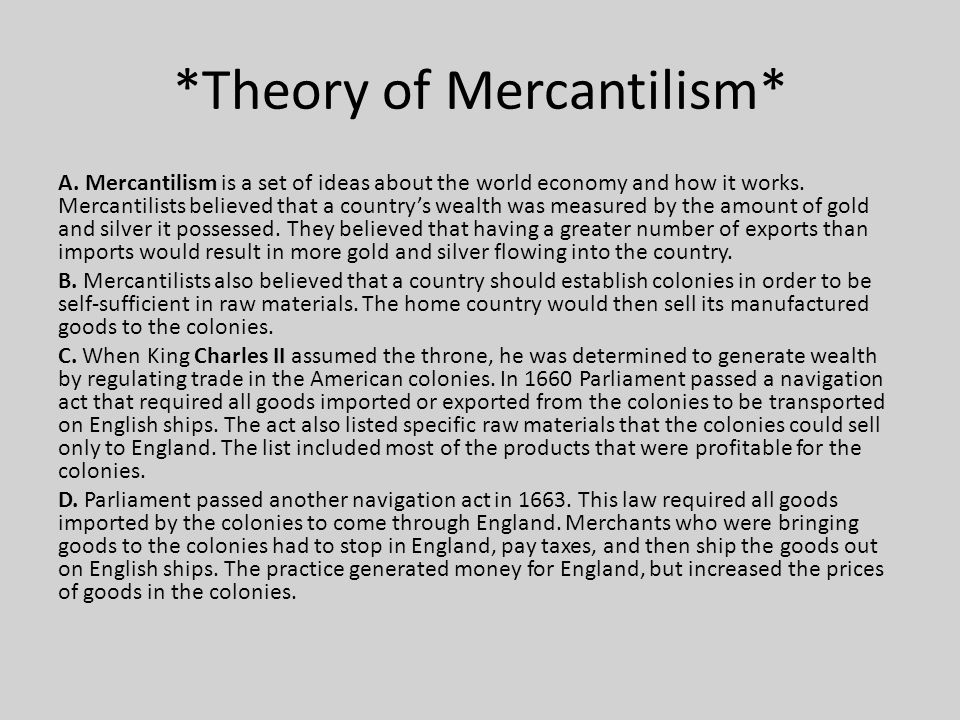 *Theory of Mercantilism*