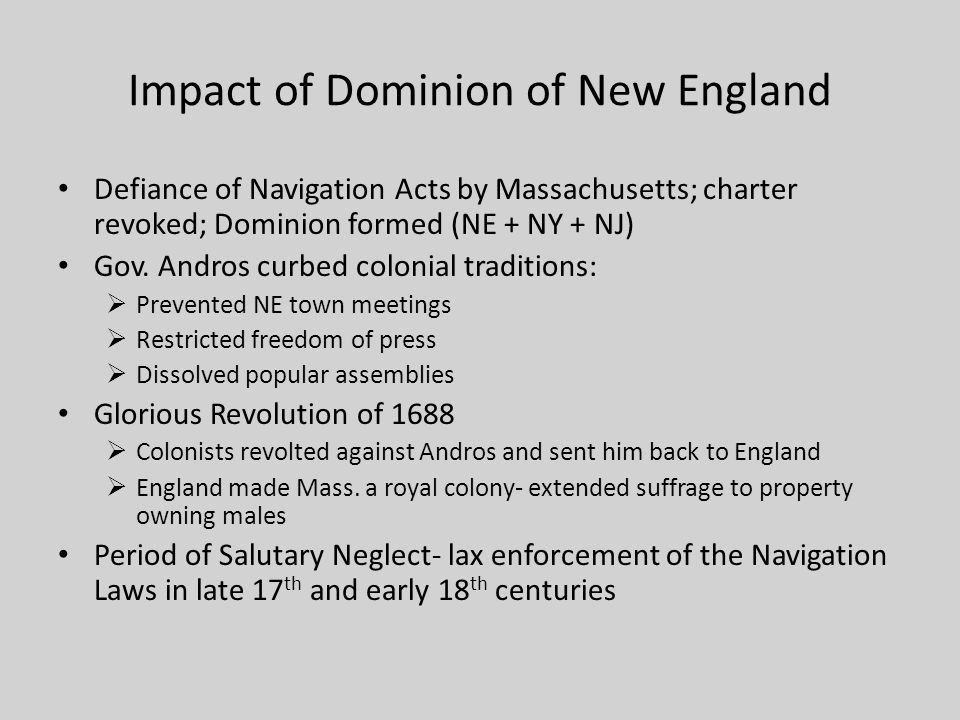 Impact of Dominion of New England