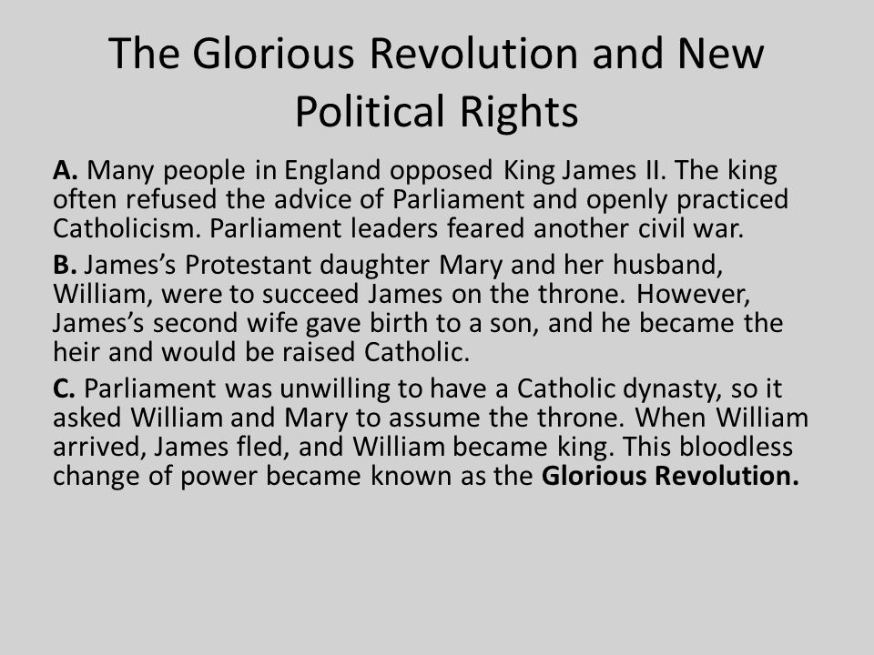 The Glorious Revolution and New Political Rights