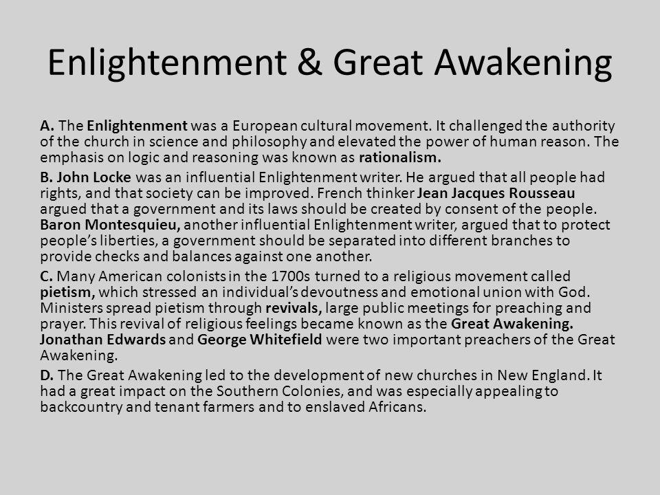 Enlightenment & Great Awakening