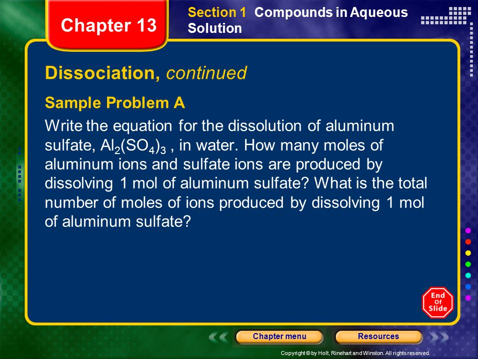 Chapter 13 Table of Contents Section 1 Compounds in Aqueous ...