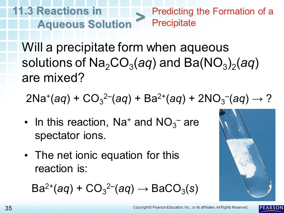 Chapter 11 Chemical Reactions 11.3 Reactions in Aqueous Solution ...
