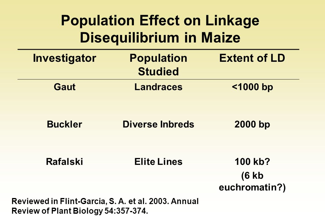 Population Effect on Linkage Disequilibrium in Maize