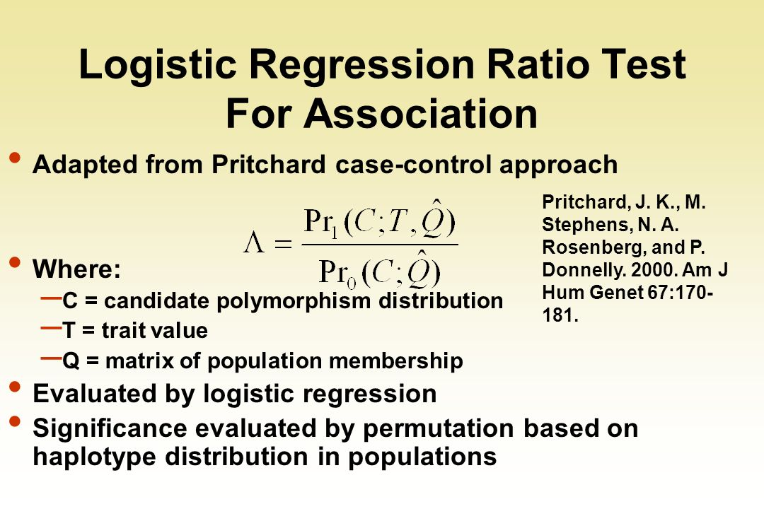 Logistic Regression Ratio Test For Association