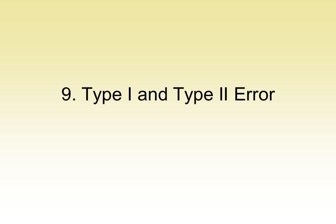 9. Type I and Type II Error