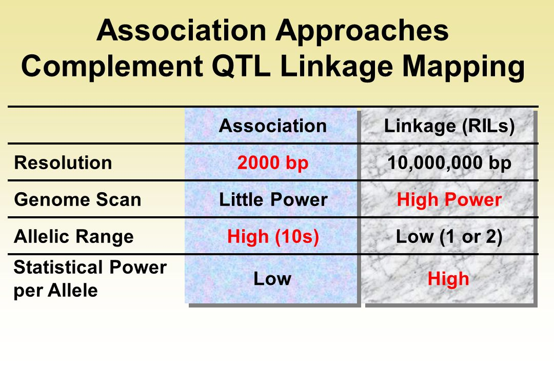Association Approaches Complement QTL Linkage Mapping
