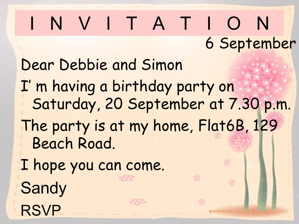 I N V I T A T I O N Sandy 6 September Dear Debbie and Simon