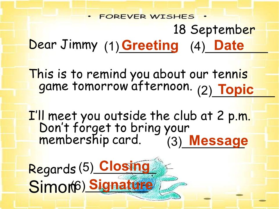 Simon Greeting Date Topic Message Closing Signature 18 September