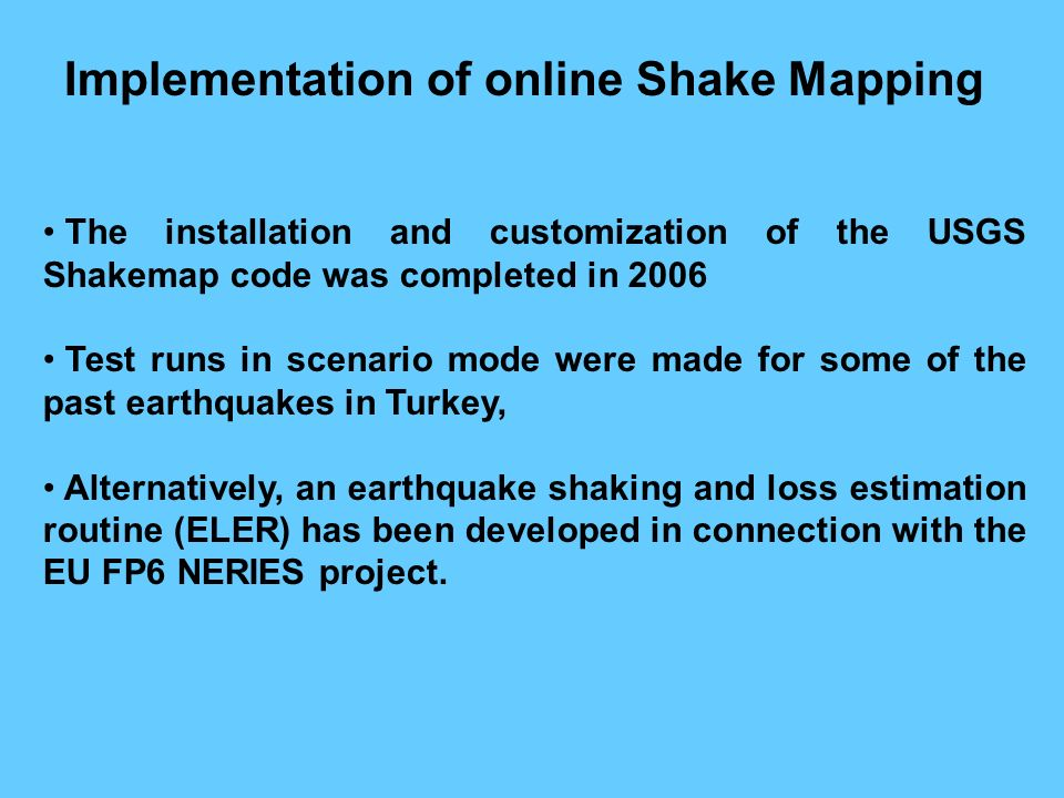 Implementation of online Shake Mapping