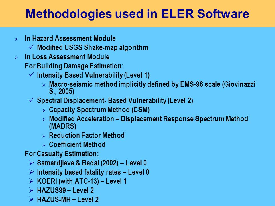 Methodologies used in ELER Software