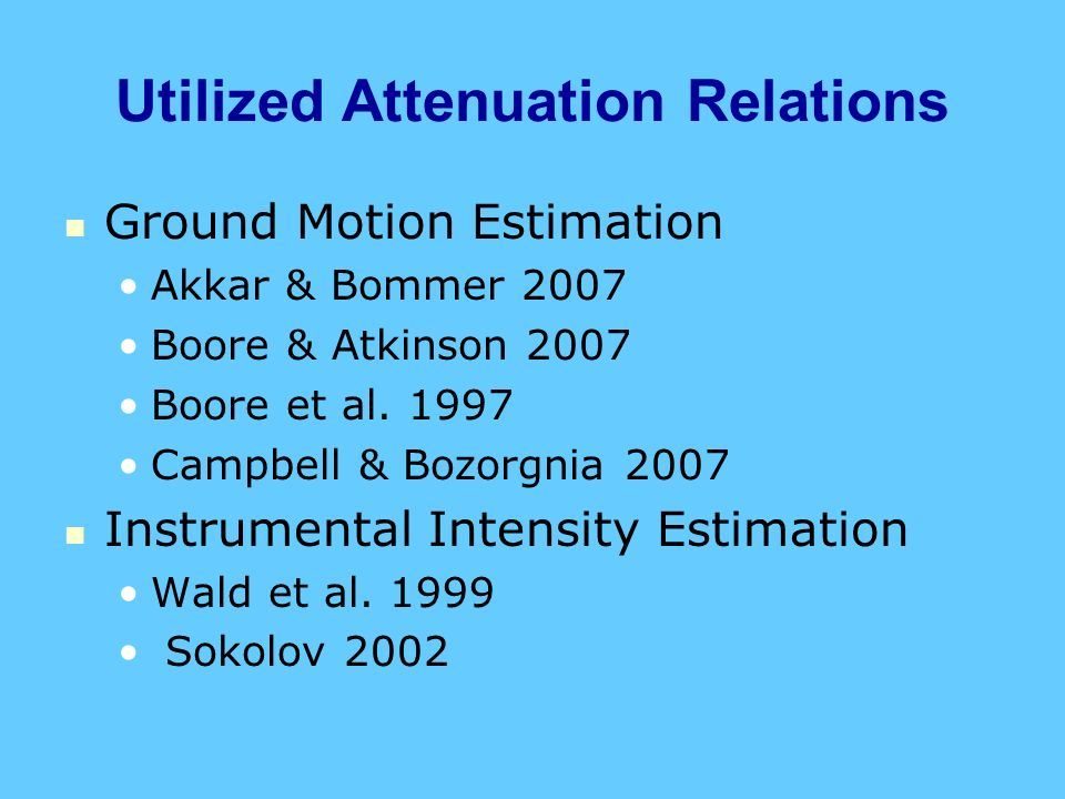 Utilized Attenuation Relations