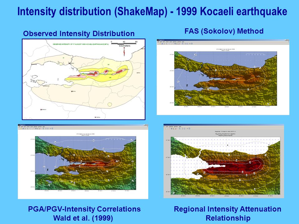 Intensity distribution (ShakeMap) - 1999 Kocaeli earthquake