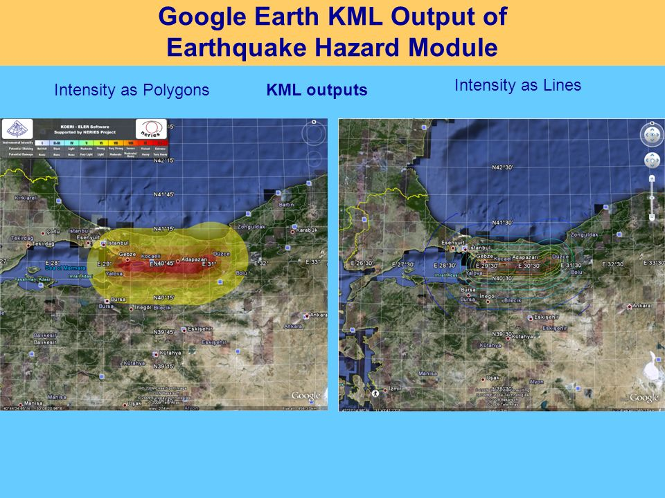 Google Earth KML Output of Earthquake Hazard Module