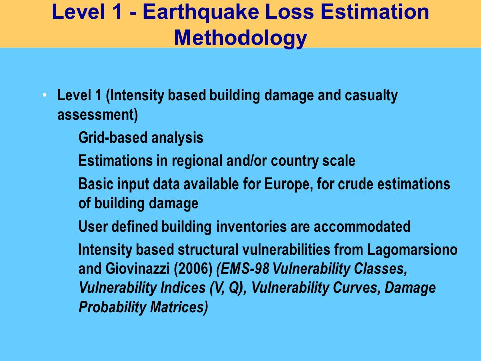 Level 1 - Earthquake Loss Estimation Methodology