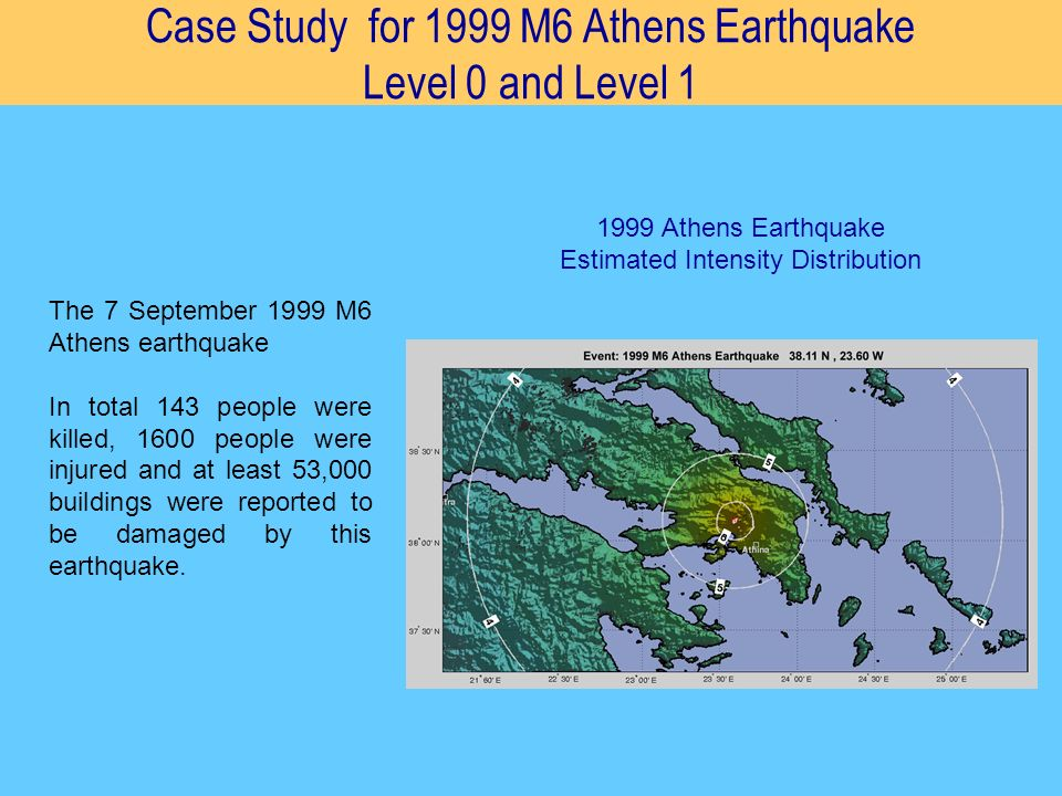 Case Study for 1999 M6 Athens Earthquake Level 0 and Level 1