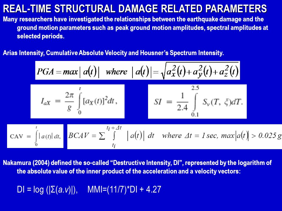 REAL-TIME STRUCTURAL DAMAGE RELATED PARAMETERS