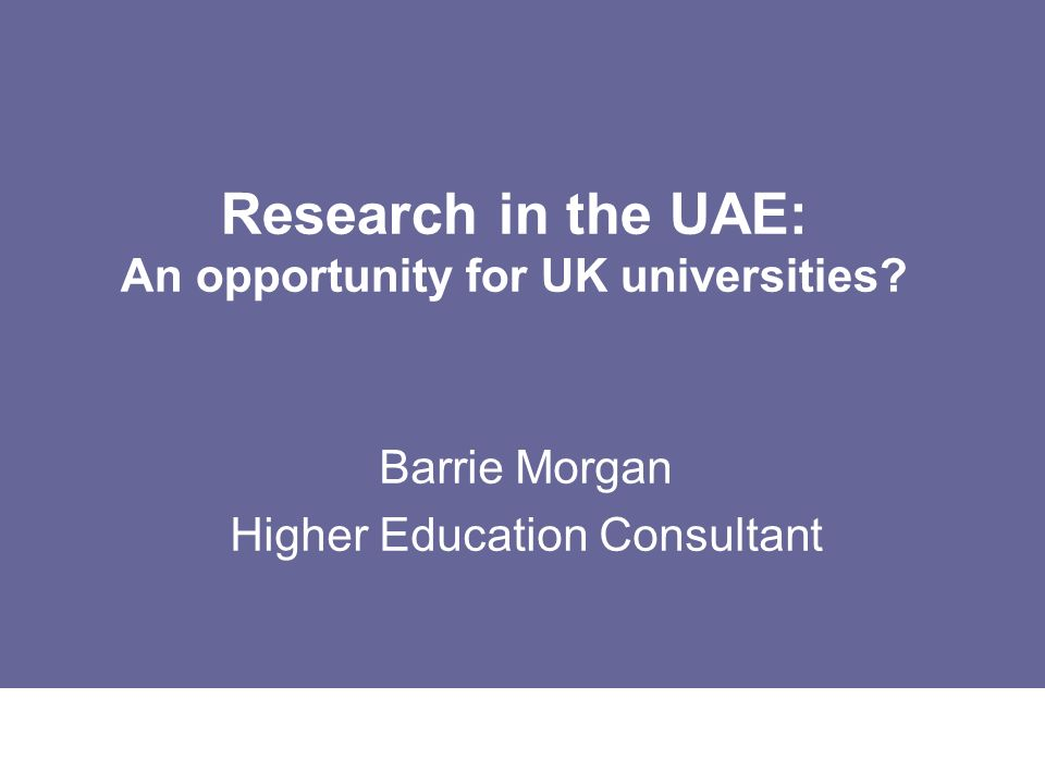 Research in the UAE: An opportunity for UK universities
