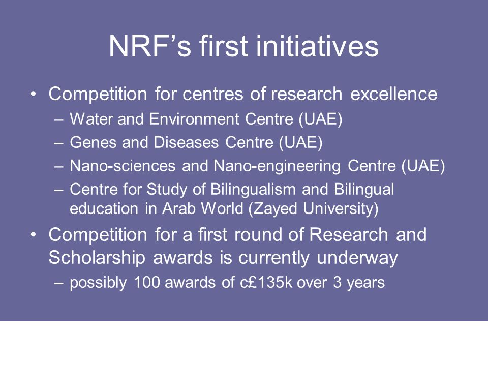 NRF's first initiatives