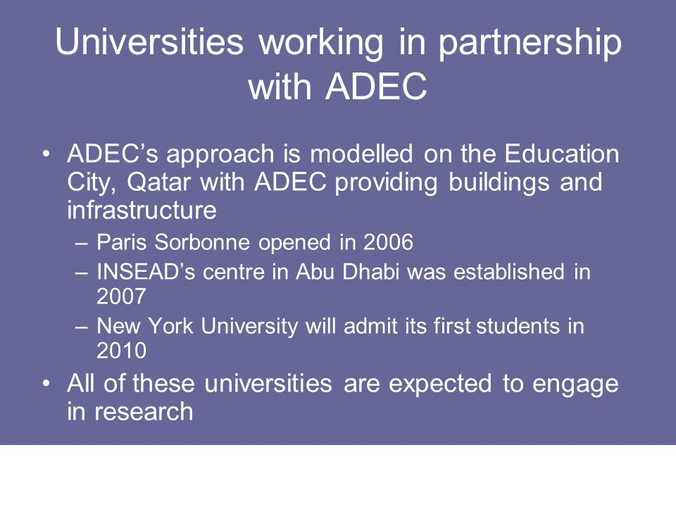 Universities working in partnership with ADEC