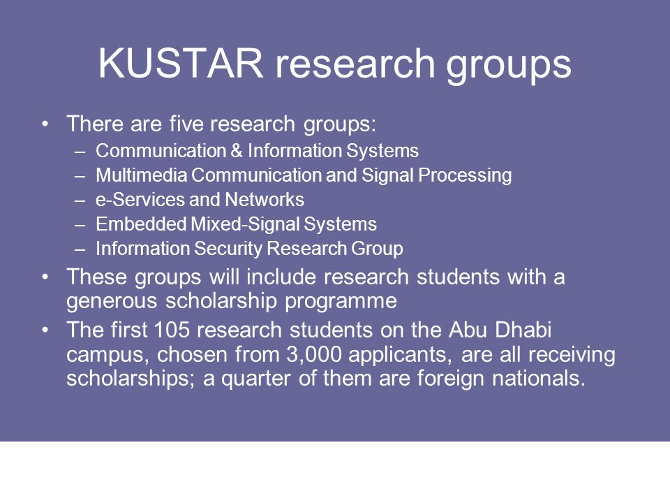 KUSTAR research groups