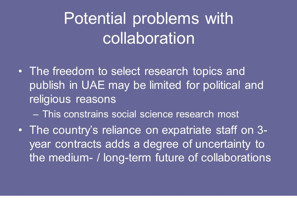 Potential problems with collaboration