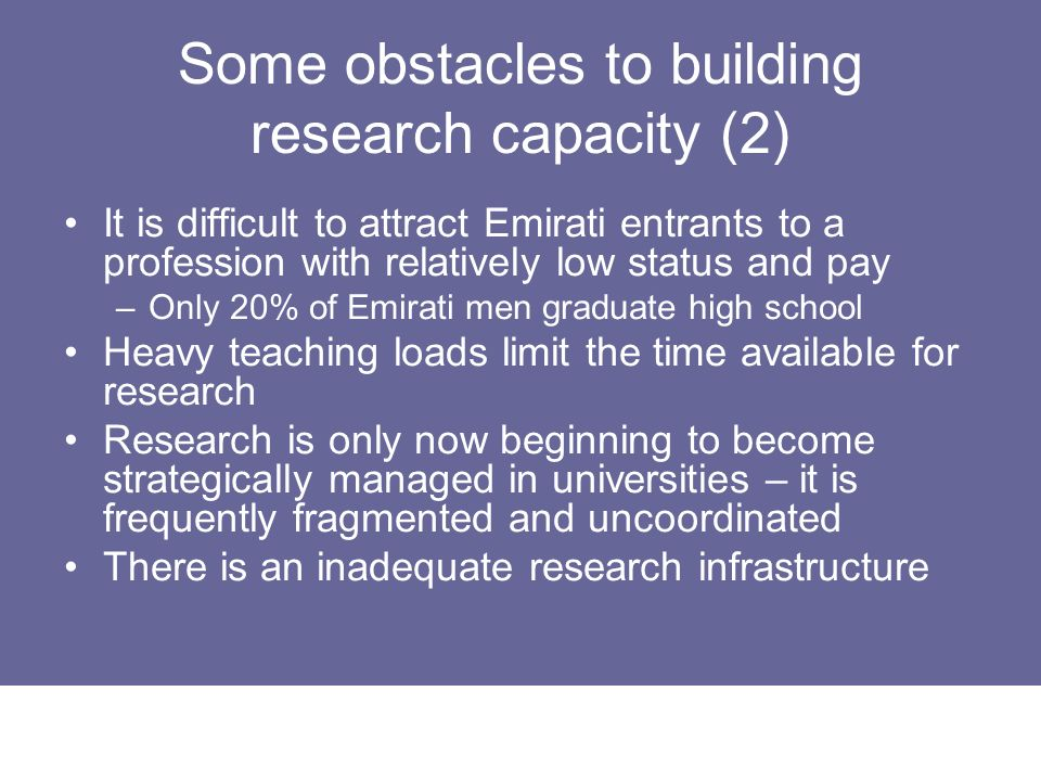 Some obstacles to building research capacity (2)